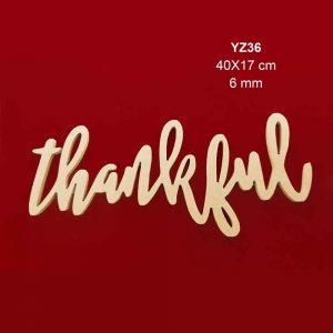 Ahşap Thankful Yazısı