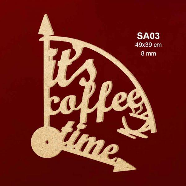 Ahşap Saat Kahve Zamanı SA03