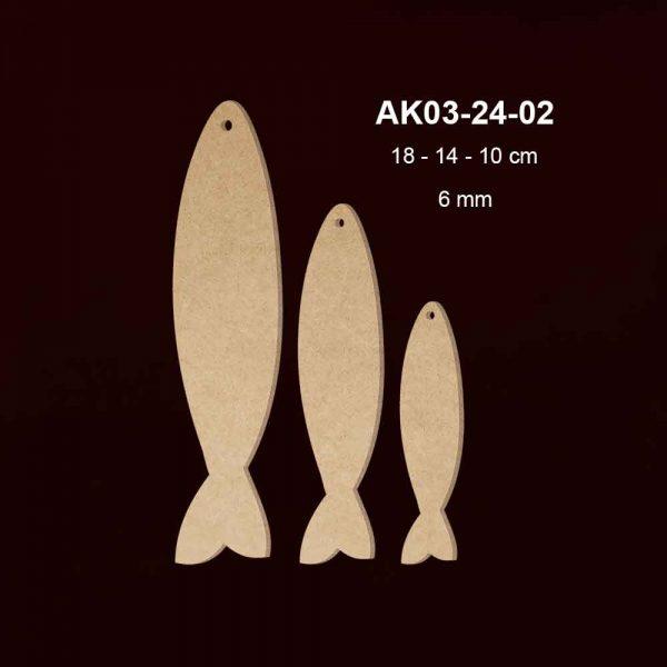 Ahşap Üçlü Balık Seti AK03-24-02