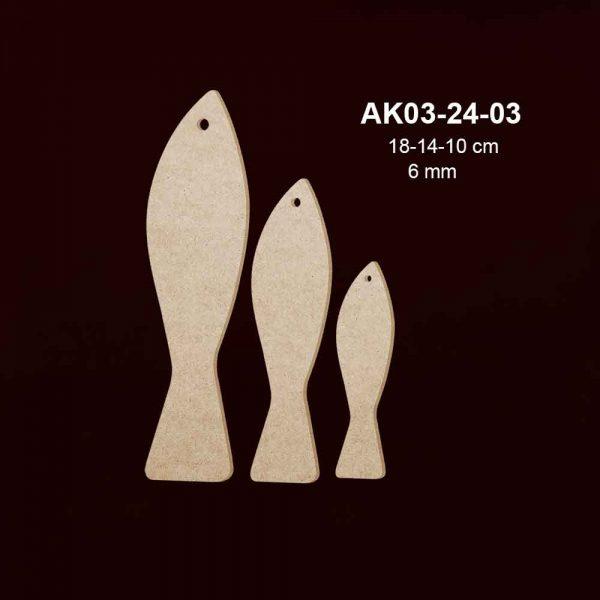 Ahşap Üçlü Balık Seti AK03-24-03
