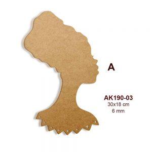 Ahşap Siyahi Bayan Silüeti AK190-03