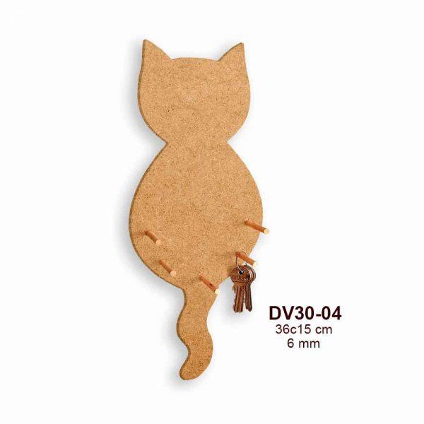 Ahşap Kedi Anahtarlık DV30-04