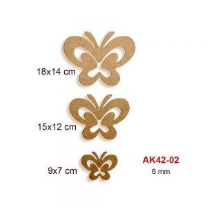 Ahşap Üçlü Kelebek Seti AK42-02