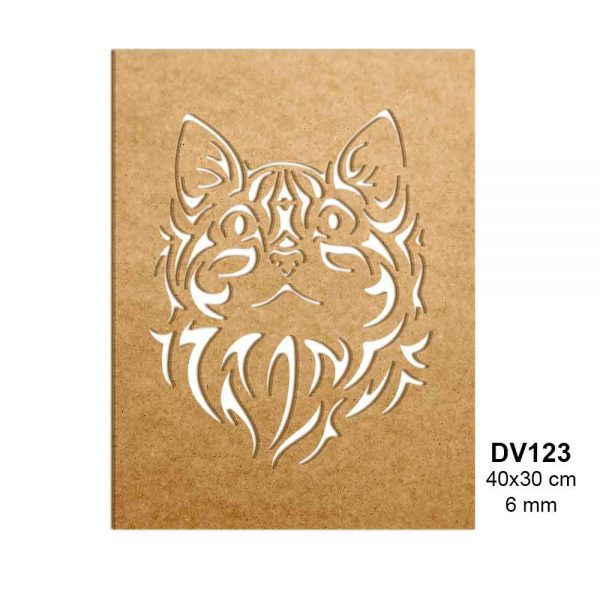 Ahşap Kedi Yüzü Panosu DV123